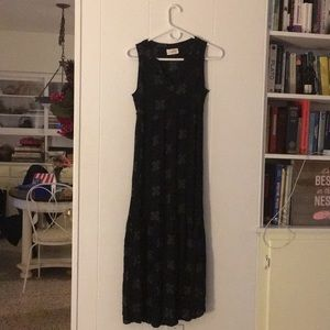 Black Maxi Dress with vintage pattern